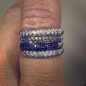 White gold diamond pave stackable rings